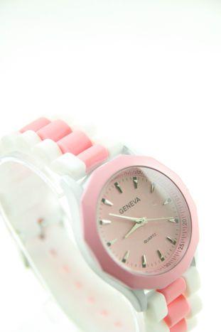 GENEVA Jasnoróżowo-biały zegarek damski na silikonowym pasku                                  zdj.                                  2
