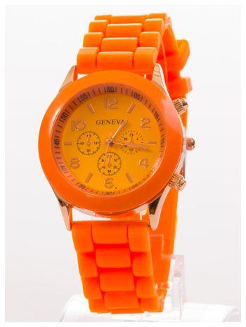 GENEVA Pomarańczowy zegarek damski na silikonowym pasku                                  zdj.                                  3