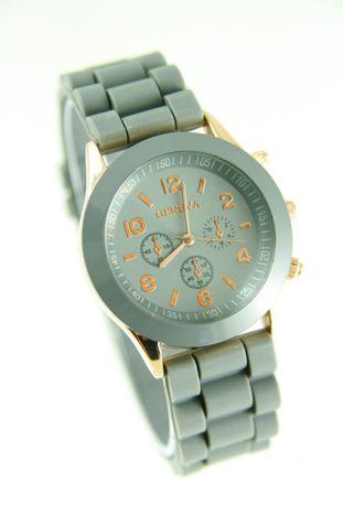 GENEVA Szary zegarek damski na silikonowym pasku                                  zdj.                                  1