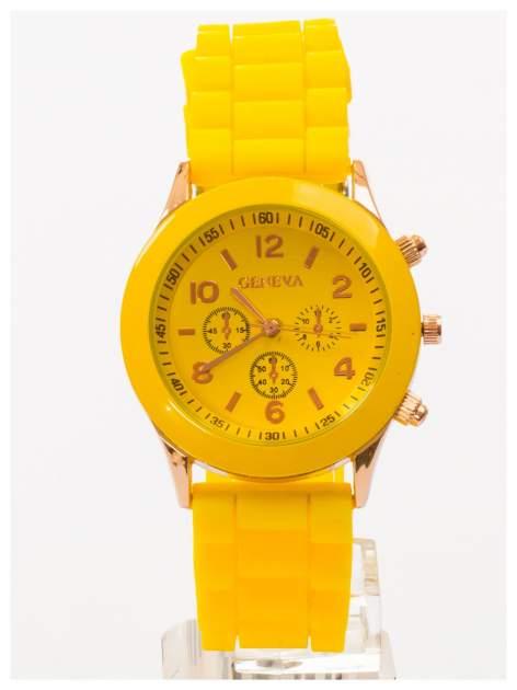 GENEVA Żółty zegarek damski na silikonowym pasku                                  zdj.                                  1
