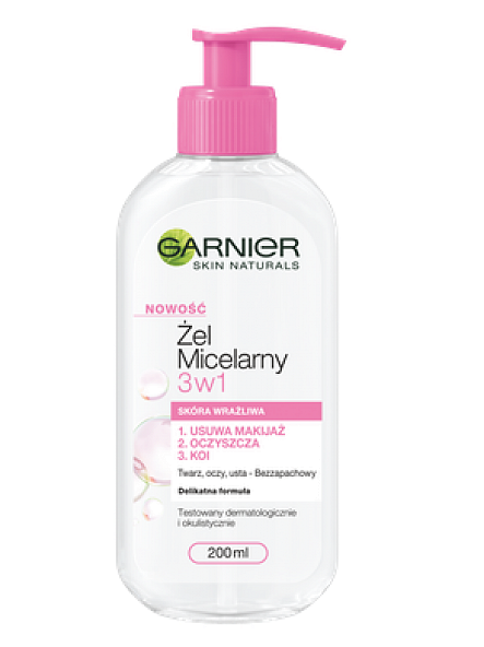 Garnier Skin Naturals Żel micelarny 3 w 1 skóra wrażliwa  200 ml