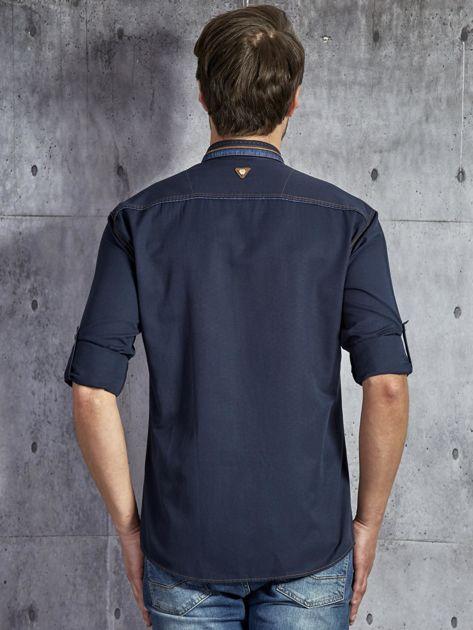 Gładka bawełniana koszula męska z przeszyciami granatowa PLUS SIZE                              zdj.                              2