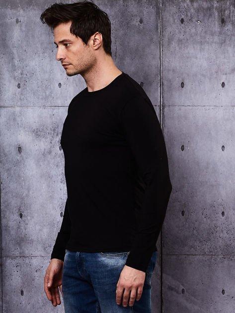 Gładka bluzka męska czarna z długim rękawem                              zdj.                              4