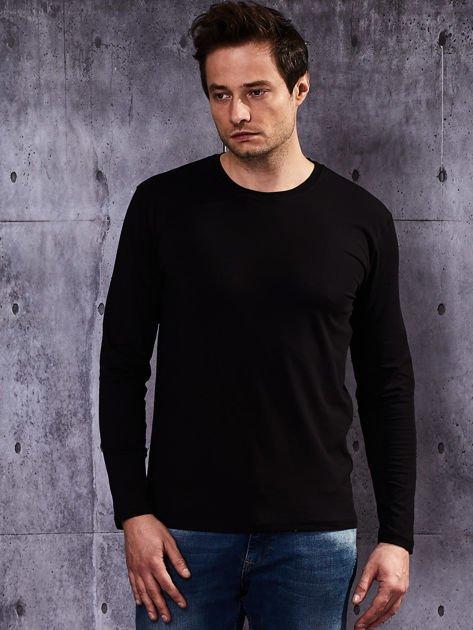 ef76a96c9761 Gładka czarna bluzka męska z długim rękawem - Mężczyźni bluzka męska ...