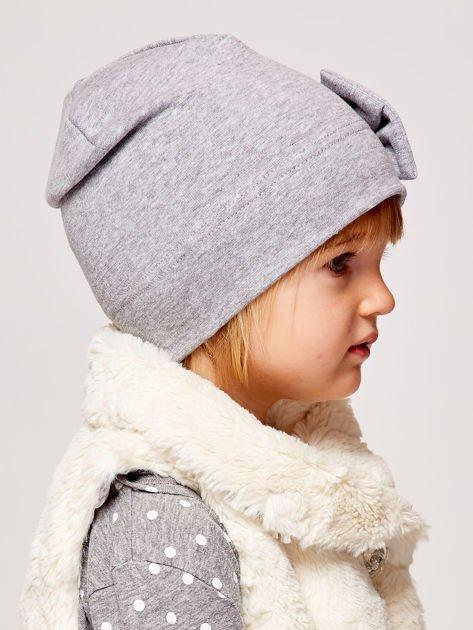 Gładka dziewczęca czapka z ozdobną kokardką szara                              zdj.                              3