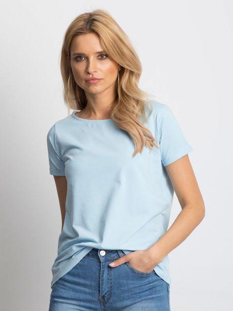 Gładki niebieski t-shirt z podwijanymi rękawami                              zdj.                              1