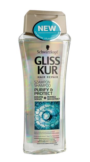 """Gliss Kur Purify & Protect Szampon do włosów przeciążonych i przetłuszczających  250ml"""""""