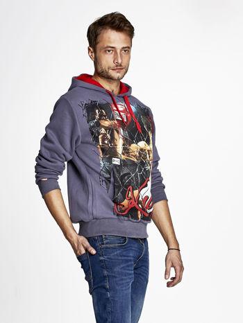 Grafitowa bluza męska z bokserskim nadrukiem                                  zdj.                                  3