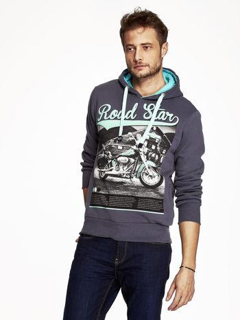 Grafitowa bluza męska z nadrukiem i napisem ROAD STAR                                  zdj.                                  1
