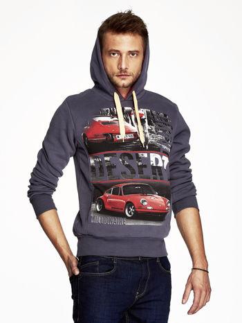 Grafitowa bluza męska z samochodowym nadrukiem                                  zdj.                                  5