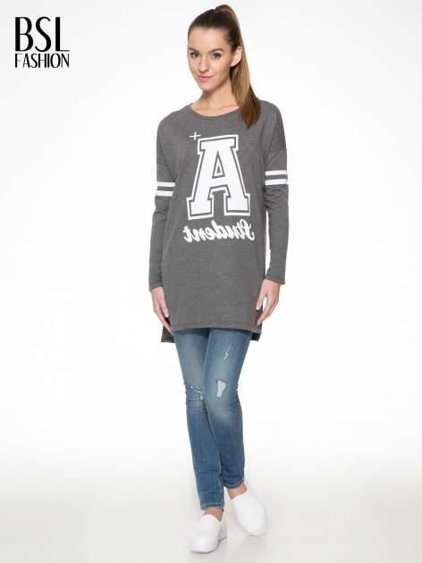 Grafitowa dresowa bluza z literą A w stylu baseballowym                                  zdj.                                  2