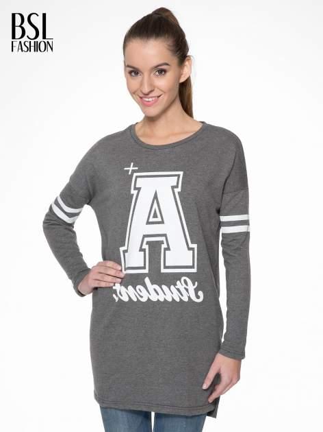 Grafitowa dresowa bluza z literą A w stylu baseballowym