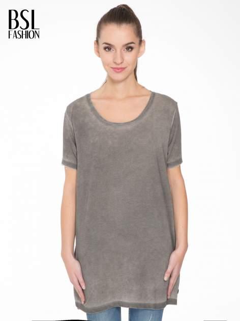 Grafitowa sukienka typu t-shirt bluzka z efektem dekatyzowania                                  zdj.                                  1