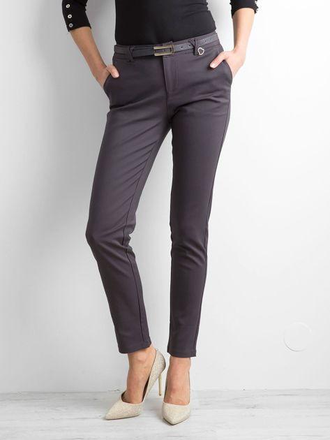 Grafitowe eleganckie spodnie z paskiem                              zdj.                              1