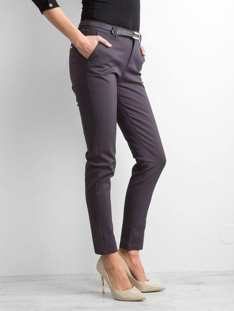 Grafitowe eleganckie spodnie z paskiem                              zdj.                              3