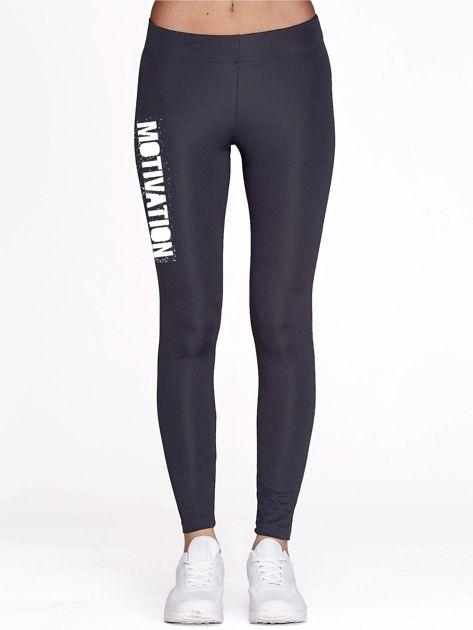 Grafitowe legginsy na siłownię z motywującym hasłem                                  zdj.                                  2