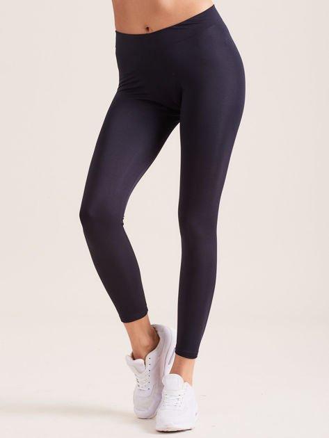 Grafitowe legginsy z szeroką gumką w pasie                               zdj.                              1