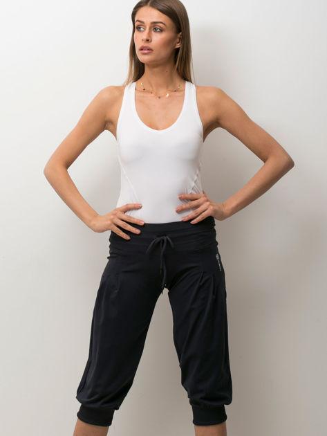Grafitowe spodnie capri z wiązaniem