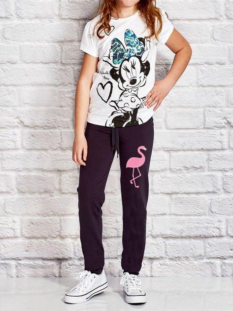 Grafitowe spodnie dresowe dla dziewczynki z flamingiem                                  zdj.                                  4