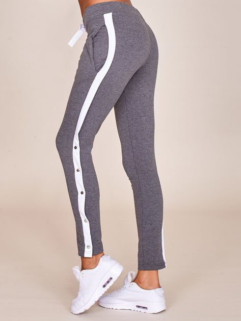 Grafitowe spodnie dresowe z rozpinanymi nogawkami na napy                              zdj.                              3