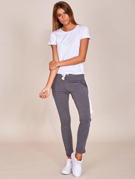 Grafitowe spodnie dresowe z rozpinanymi nogawkami na napy                              zdj.                              4