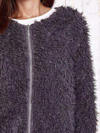 Grafitowy futrzany sweter kurtka na suwak                                  zdj.                                  7