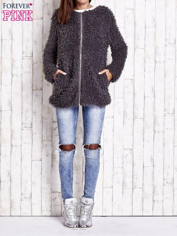 Grafitowy futrzany sweter kurtka na suwak                                  zdj.                                  10