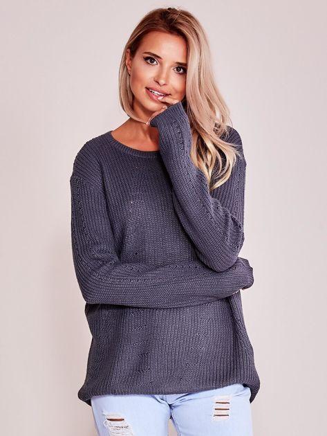 Grafitowy luźny sweter                               zdj.                              1