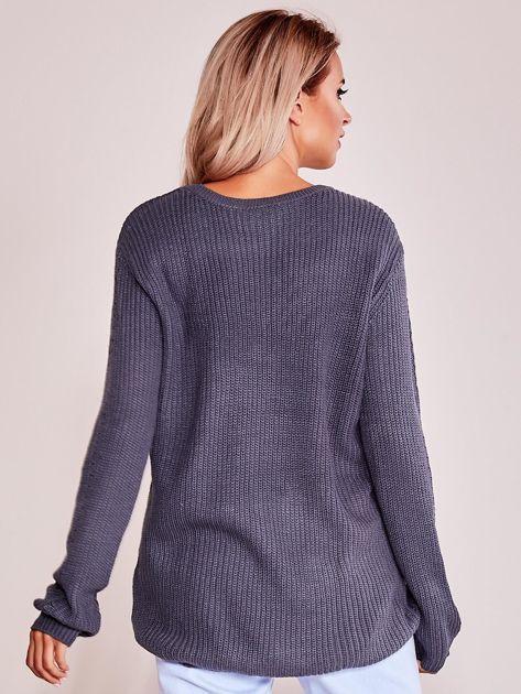 Grafitowy luźny sweter                               zdj.                              2