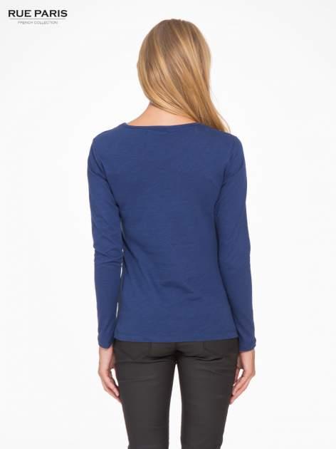 Granatowa basicowa bluzka z długim rękawem                                  zdj.                                  4
