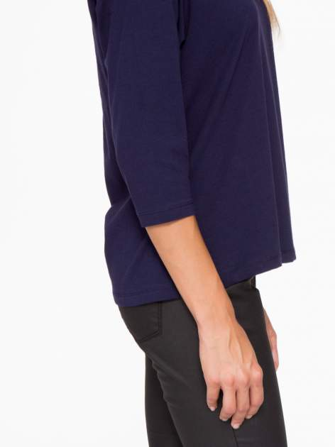 Granatowa basicowa bluzka z rękawem 3/4                                  zdj.                                  8