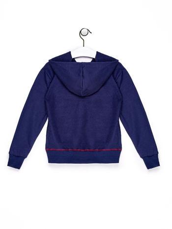 Granatowa bluza chłopięca z kapturem i nadrukami