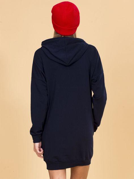 Granatowa bluza damska z kapturem                              zdj.                              2