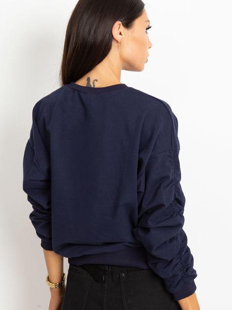 Granatowa bluza damska z marszczonymi rękawami                              zdj.                              2