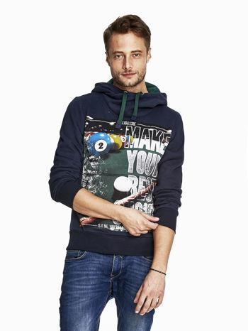 Granatowa bluza męska z napisem MAKE YOUR BEST SHOUT                                  zdj.                                  1