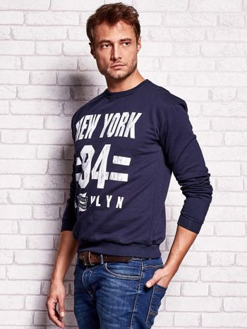 Granatowa bluza męska z napisem NEW YORK                                  zdj.                                  3