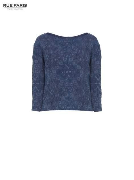 Granatowa bluza tłoczona w azteckie wzory                                  zdj.                                  5