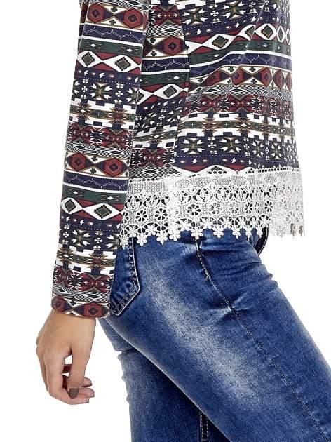 Granatowa bluza w azteckie wzory z koronką                                  zdj.                                  6