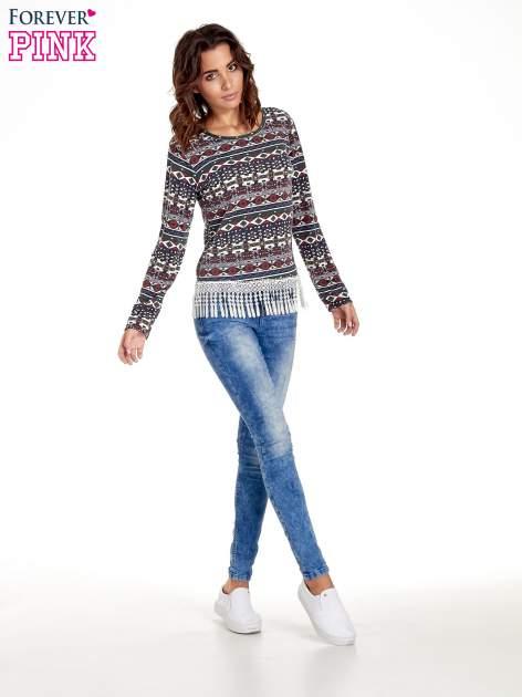 Granatowa bluza w azteckie wzory z koronką z frędzlami                                  zdj.                                  7