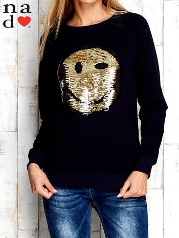 Granatowa bluza z dwustronną naszywką z cekinów                                  zdj.                                  1