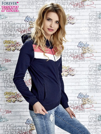 Granatowa bluza z kapturem z kolorowymi przeszyciami                                  zdj.                                  3