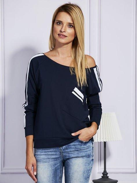 Granatowa bluza z kolorowymi wstawkami                              zdj.                              1