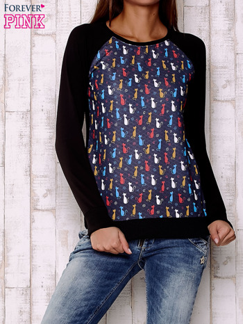 Granatowa bluza z kotami