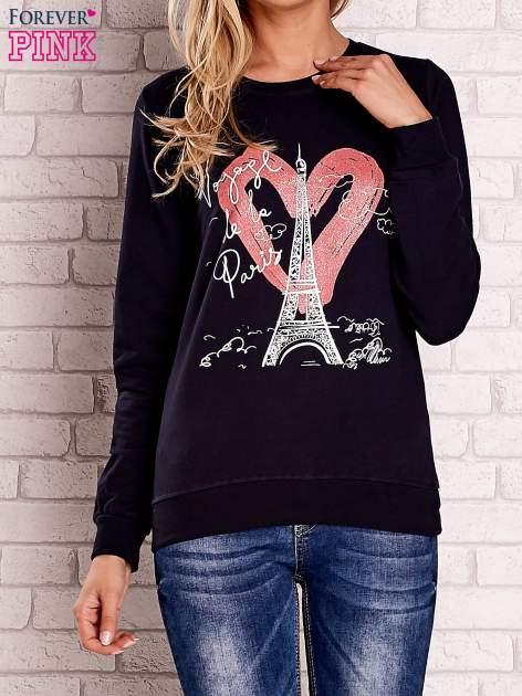 Granatowa bluza z motywem paryskim                                  zdj.                                  1