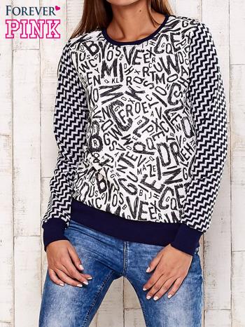 Granatowa bluza z nadrukiem liter i graficznym tyłem                                  zdj.                                  1