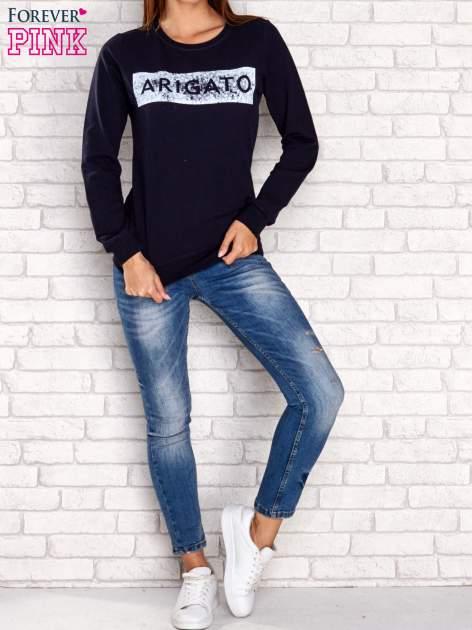 Granatowa bluza z napisem ARIGATO                                  zdj.                                  4
