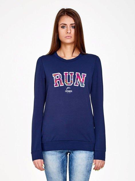 Granatowa bluza z napisem RUN