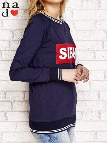 Granatowa bluza z napisem SIEMA                              zdj.                              3