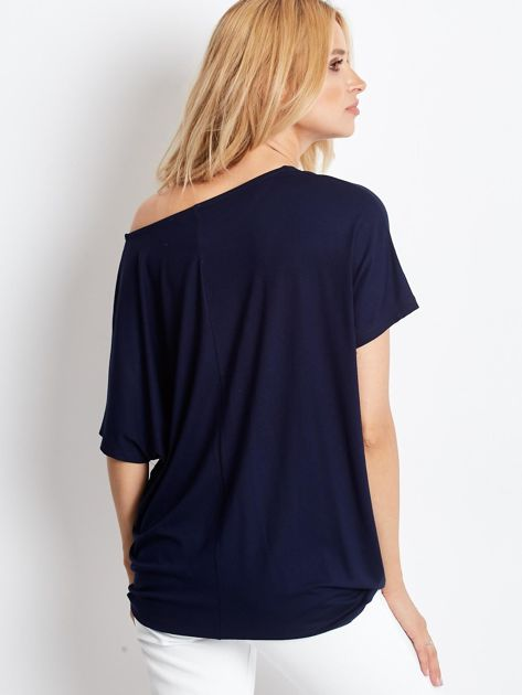 Granatowa bluzka damska Oversize                              zdj.                              2