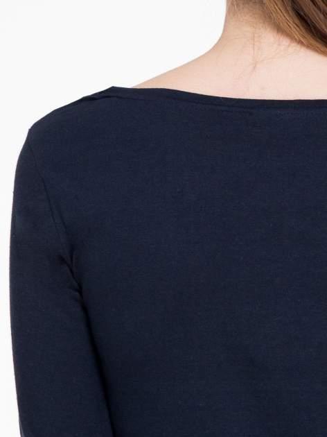 Granatowa bluzka tunika z marszczonym dołem                                  zdj.                                  8